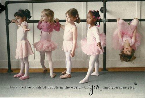 Ballerina girls and one upside down